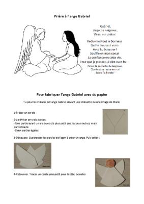 Prière à l'ange Gabriel + bricolage